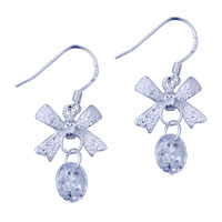 Sterling Silver Jewelry - 925  sterling silver bowknot dangle fish hook earrings Image.