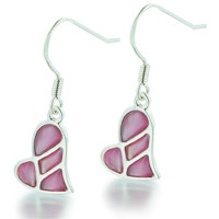 Mother Of Pearl Jewelry - 925  sterling silver faux mother of pearl pink heart dangle earrings Image.