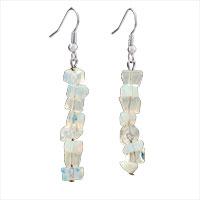 Earrings - genuine pure white dangle gemstone nugget chips dangle earring fish hook earrings for women Image.