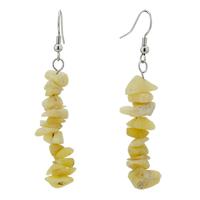 Earrings - chip stone earrings genuine shell gemstone nugget chips dangle earring beads fish hook earrings Image.