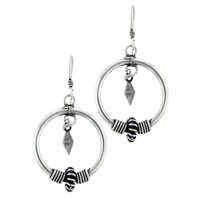 Earrings - handmade sterling silver circle double dangle fish hook earrings Image.