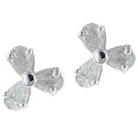 Earrings - handmade sterling silver cubic zirconia cz shamrock stud earrings Image.