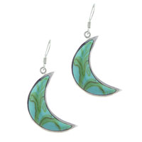 Earrings - handmade sterling silver turquoise crescent dangle fish hook earrings Image.