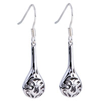 Earrings - dange silver engraving droplet fish hook earrings 925  sterling dangle Image.