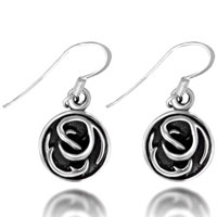 Earrings - antique sterling silver round tribal symbol dangle fish hook earring Image.