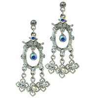 Earrings - handcrafted colorful crystal cz flower chandelier dangle earrings Image.