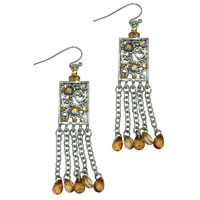 Earrings - square filigree chandelier topaz crystal cz dangle earrings Image.