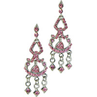 Earrings - new breast cancer awareness pink ribbon chandelier crystal dangle earrings Image.