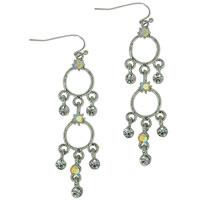 Earrings - clear and pink dreamcatcher cascade chandelier dangle earrings Image.