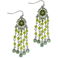 Earrings - handcrafted flower green filigree chandelier fish hoop earrings Image.