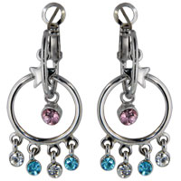 Earrings - austrian multicolor crystal double hoop valentine dangle earrings Image.