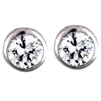 Earrings - handcrafted round clear crystal cz cubic zirconia stud earrings Image.
