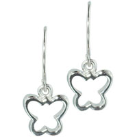 Earrings - sterling silver butterfly outline sale jewelry dangle hook earrings Image.