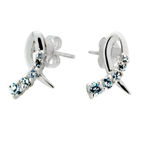 Earrings - ribbon aquamarine blue crystal cz stud re earrings for fashion women Image.
