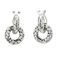 Earrings - fashion women' s snakeskin pattern circle stud hinged earrings Image.