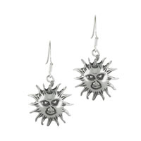 Earrings - sterling silver sunshine tribal dangle fish hook earrings Image.