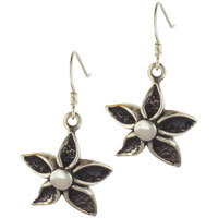 Earrings - sterling silver flower daisy with pearl dangle fish hook earrings Image.