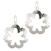 Earrings - sterling silver daisy flower silhouette hook dangle earrings Image.