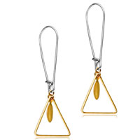 Earrings - 925  sterling silver triangle golden dangle fashion earrings Image.