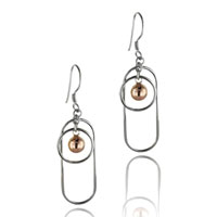 Earrings - 925  sterling silver two tone ornament circle &  oval dangle earrings Image.