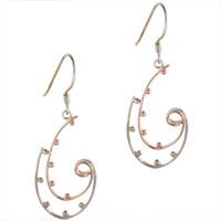 Earrings - sterling silver two tone fancy curve ball hook dangle earrings Image.
