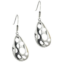 Earrings - sterling silver curved pave teardrop holed earring dangle earrings Image.