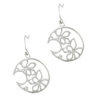Earrings - sterling silver circle flower cz outline fish dangle hook earrings Image.