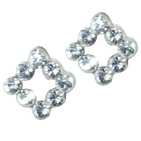 Earrings - sterling silver square shaped cubic zirconia cz earring stud earrings Image.