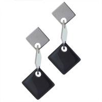 Earrings - sterling silver row of squares earring dangle earrings Image.
