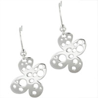 Earrings - sterling silver flower with holes earring dangle earrings Image.