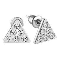 Earrings - triangle clear crystal earrings crystal stud Image.