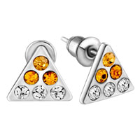 Earrings - handmade triangle november birthstone citrine stud earrings Image.