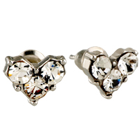 Earrings - sparkling handcrafted small heart clear crystal earrings stud Image.