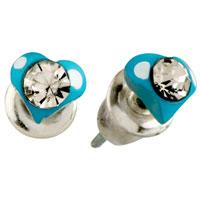 Earrings - blue heart clear crystal earrings stud Image.
