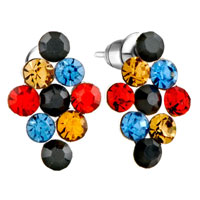 Earrings - fashion multicolor crystals earrings stud rhombus shape for women Image.
