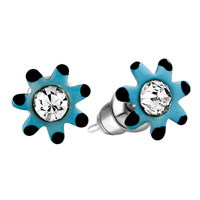 Earrings - blue flower clear crystal earrings stud Image.