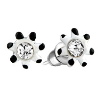 Earrings - white black flower earrings stud Image.