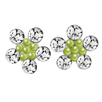 Earrings - lovely snowflake clear crystal green stud earrings girl' s Image.