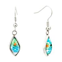 Earrings - silver colorful flower drop millefiori murano glass earrings Image.