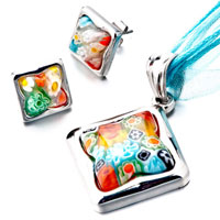 New Year Deals - silver square colorful millefiori murano glass blue pendants earrings Image.