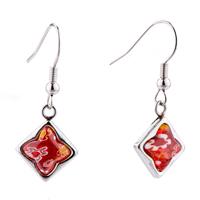 Earrings - silver square fancy flower against red millefiori murano glass dangle earrings Image.
