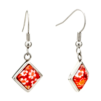 Earrings - silver square white red flower millefiori murano glass dangle earrings Image.
