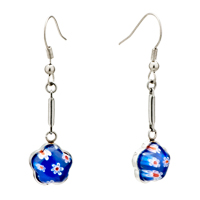 Earrings - silver blue flower millefiori murano glass dangle earrings Image.