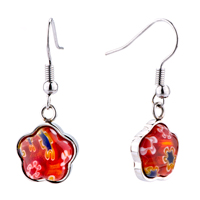 Earrings - silver flower against red millefiori murano glass dangle earrings Image.