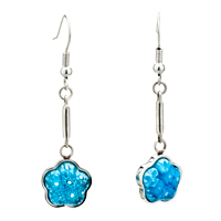 Earrings - silver pale blue flower millefiori murano glass dangle earrings Image.