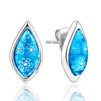 Earrings - silver drop pale blue flower millefiori murano glass earrings Image.
