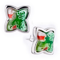 Earrings - silver flower green millefiori murano glass stud earrings Image.