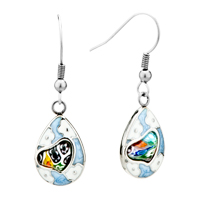 Earrings - silver white flower heart millefiori murano glass dangle earrings Image.