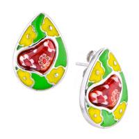 Earrings - silver drop yellow flower red heart millefiori murano glass earrings Image.