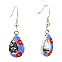 Earrings - silver red flower purple drop millefiori murano glass earrings Image.